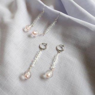 Ice Knot Pearl - 925 Sterling Silver Earrings
