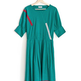 Vintage Lake Green Stripe Cotton Vintage Sleeve Dress