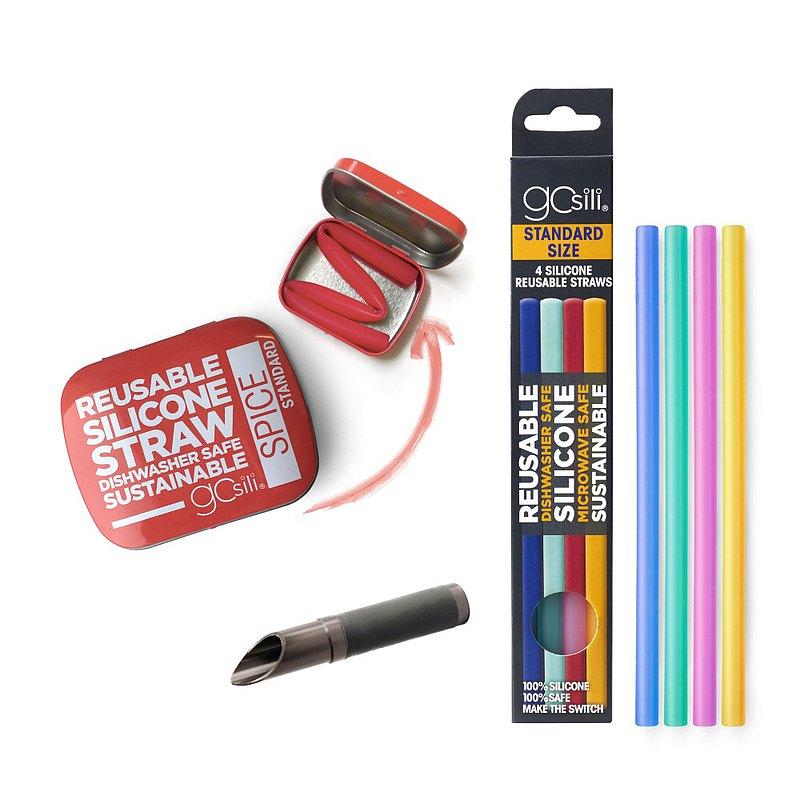 美國GoSili 鉑金矽膠 (20cm)口袋組(紅)+切口器(灰)+4入矽膠吸管