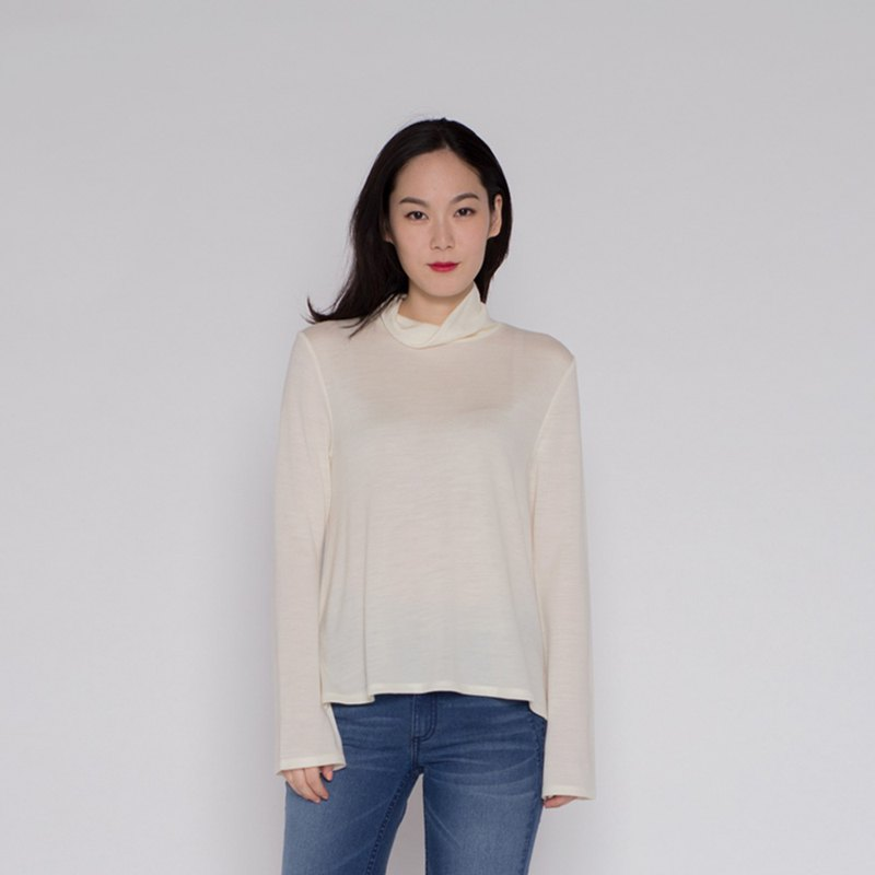 Elegant Nuwa High Collar Top Exquisite Turtule Neck Jersey Top