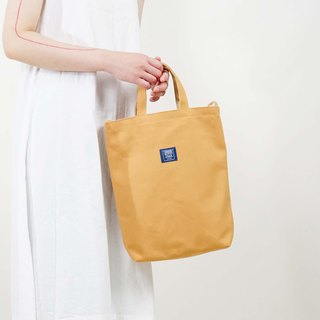 Two-color canvas three-use bag _ camel + beige