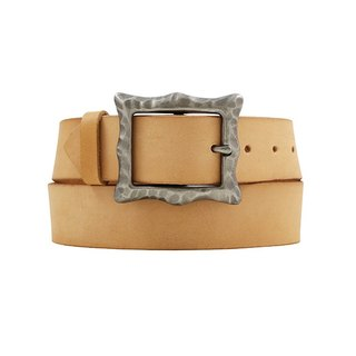 FULLGRAIN │ Italian vegetable tannery leather color leather belt 4cm - fog silver moon pattern date button