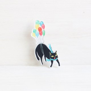 Black Cat with balloons badge I Cat Lover