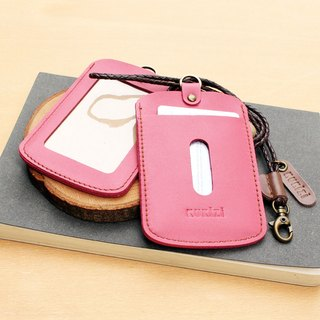 ID case/ Key card case/ Card case - ID 1 -- Pink + Dark Brown Lanyard
