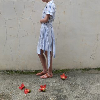 Straps wind wrapped blue and white stripes silk linen dress