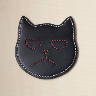 Black leather cat coaster Italian tannage
