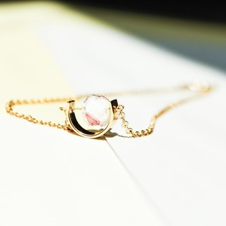[Day daily] simple quicksand transparent beads gold short necklace