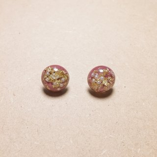 Vintage Deep Pink Gold Foil Pearl Ball Earrings
