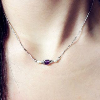 Amethyst pearl necklace ◎ thin hand-wound stainless steel chain