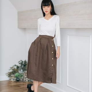 Pleated Long Skirt in Brown