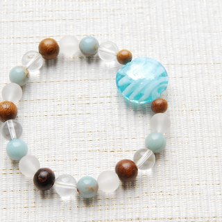 Coin type beads and natural stone bracelet light blue