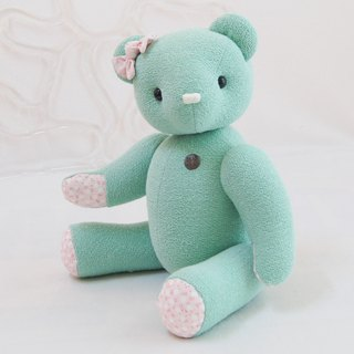 Handmade teddy bear pudding bear organic green 34cm custom color and embroidered word finished