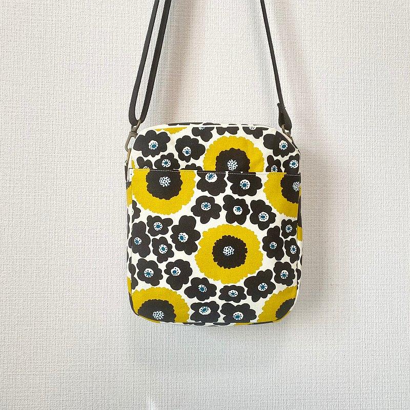 斜背立體小方包-北歐風印花布-黃色花朵