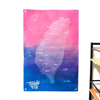 Customized Taiwan map cloth dark blue