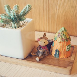 [Potted] Squirrel's Place Squirrel's Place (with two baubles and bamboo base) healing office Small gifts