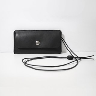 LUCE hand-sewn and vegetable tanned leather strap phone case - Black