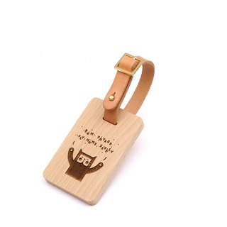 Wooden luggage tag - kitten - European beech style