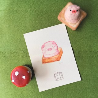 Hand-painted postcards / cool card _ ice cream toast sweet strawberry pig