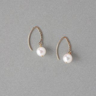 【14 KGF】 Marquis Hook Pearl Earrings