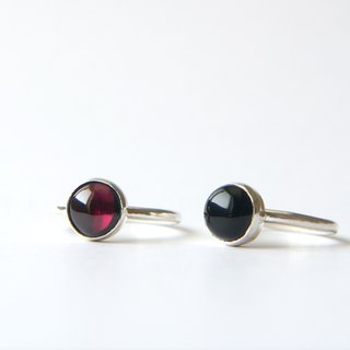 2 sterling silver rings - garnet and black onyx sterling silver ring