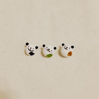 QQ panda burst pulp dumplings earrings (can change ear clip type) ((full 600 random send mystery small gift))