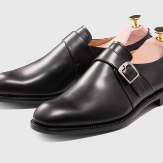 Melanin single buckle Monk leather shoes Goodyear suture handmade