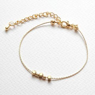 "Brass Corner Float Bead Strings Fine Bracelet ""Small Chain Club"" BBZ006"