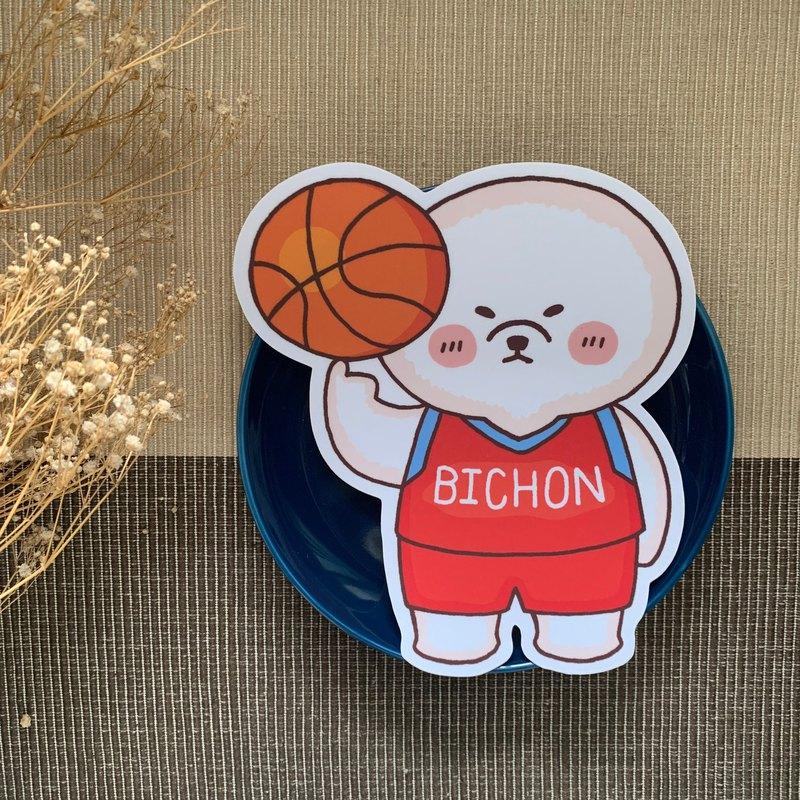 比熊籃球大型防水貼紙 SL0021