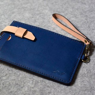 YOURS leather two-section personalized coin purse - upgraded version (plug-in type) blue leather + primary color
