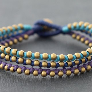 Woven Bracelets, Multi Strand Beaded Bracelets, Blue Tone Bohemian Style Jewelry, Color Mix Beaded Bracelets