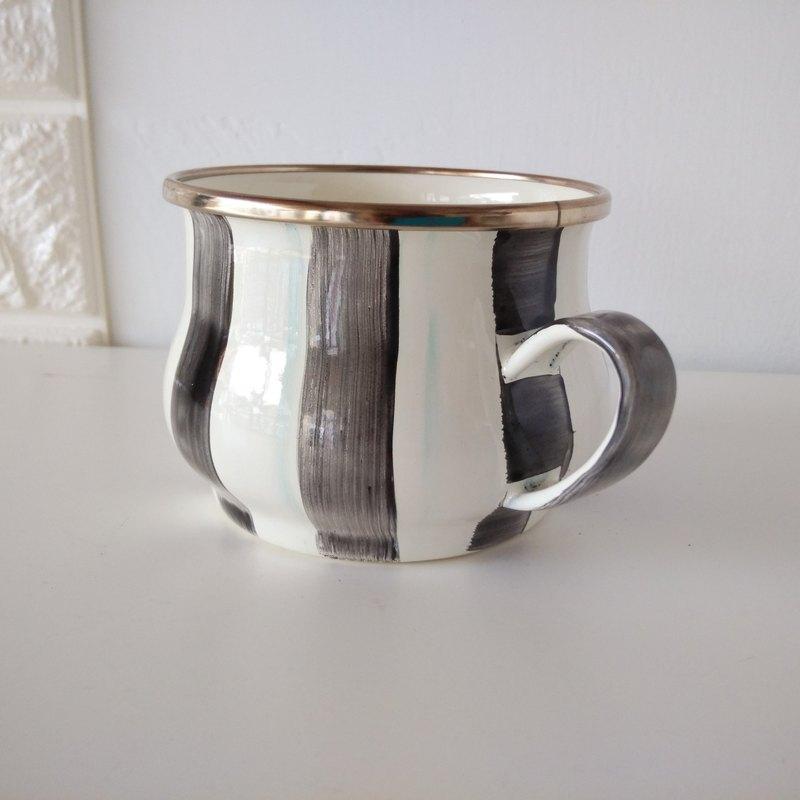 騎士黑條紋彩繪琺瑯杯 附手作禮物包裝