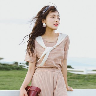 Anne Chen 2018 summer new color hit the streamers round neck T-shirt