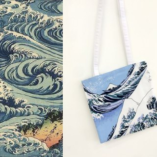 Original design Japanese ukiyo-e printing wave printing shoulder canvas bag
