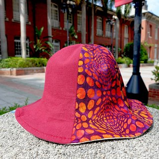 Batik series flower carp fisherman hat _ patchwork section _ red _ clownfish