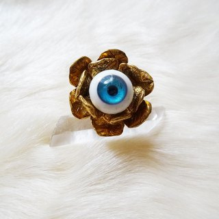 1 point EYE flower ring blue Harajuku kawaii