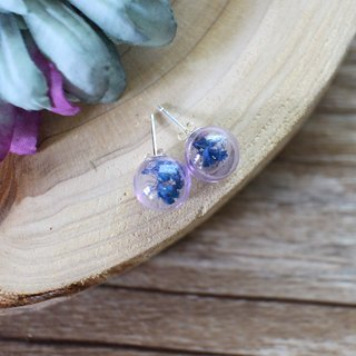 Blue dry flower glass ball earrings ear clip