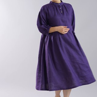 wafu  linen dress / midi length / puff sleeve / flare dress / purple a79-10