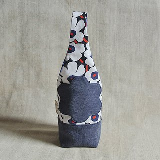 Poppy blue white flower - kettle bag / mug bag / beverage bag / umbrella bag