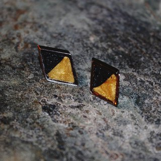 Double-sided Lawrence Soft Earrings - Sparkling Black X Texture Golden