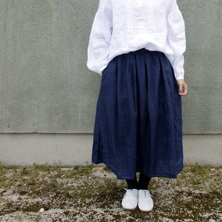 Free shipping / linen 100percent waist tuck long skirt /  rm-32 / navy