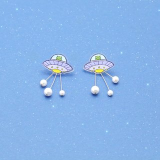 UFO emitting beam earrings