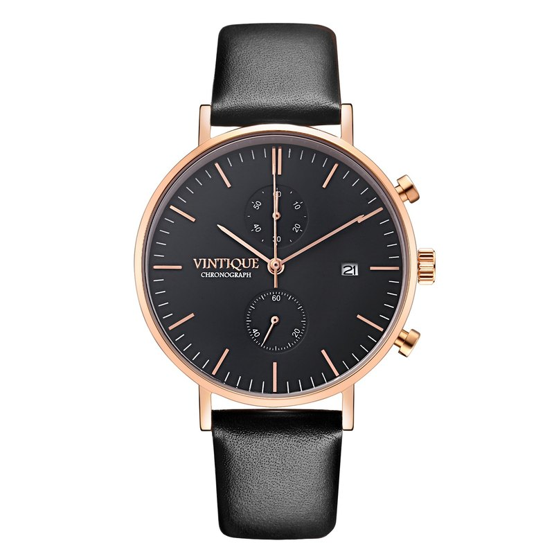 [Vintique] chronograph watch simple design sapphire glass rose gold stainless steel case leather strap CH-BR01