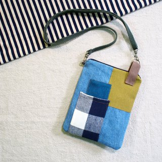 E*group square patchwork small bag tannins cell phone bag passport package