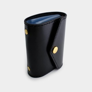 RENEW - Vegetable tanned leather hand stitch 20 card card holder / card holder / business card holder black
