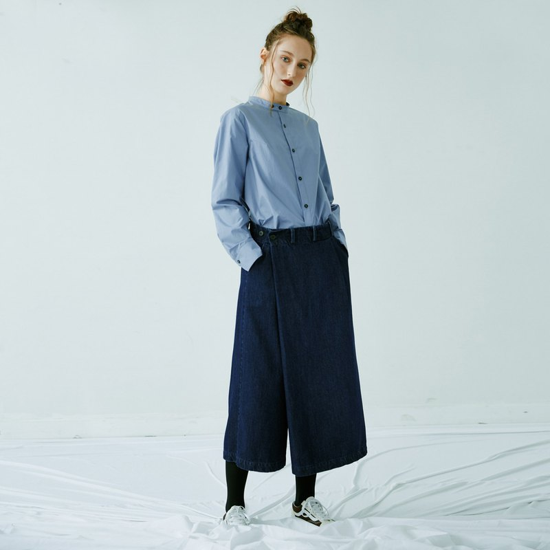 Denim wash asymmetric design wide leg culottes