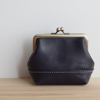 Square snap lock leather pouch (S) Dark blue