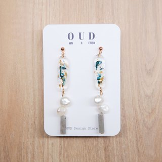 OUD Original-Natural Gem-Labradorite-Pearls-Green Shell 14K Drop Earring/Clip-on