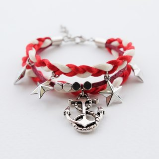 Red nautical triple-layer braided bracelet