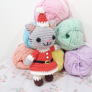 Christmas Cat Ms. Santa Cat Hand Crocheted