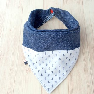 Baby Bib, Reversibl Bandana Bib, Denim, Anchor, Japanese Double Gauze Cotton